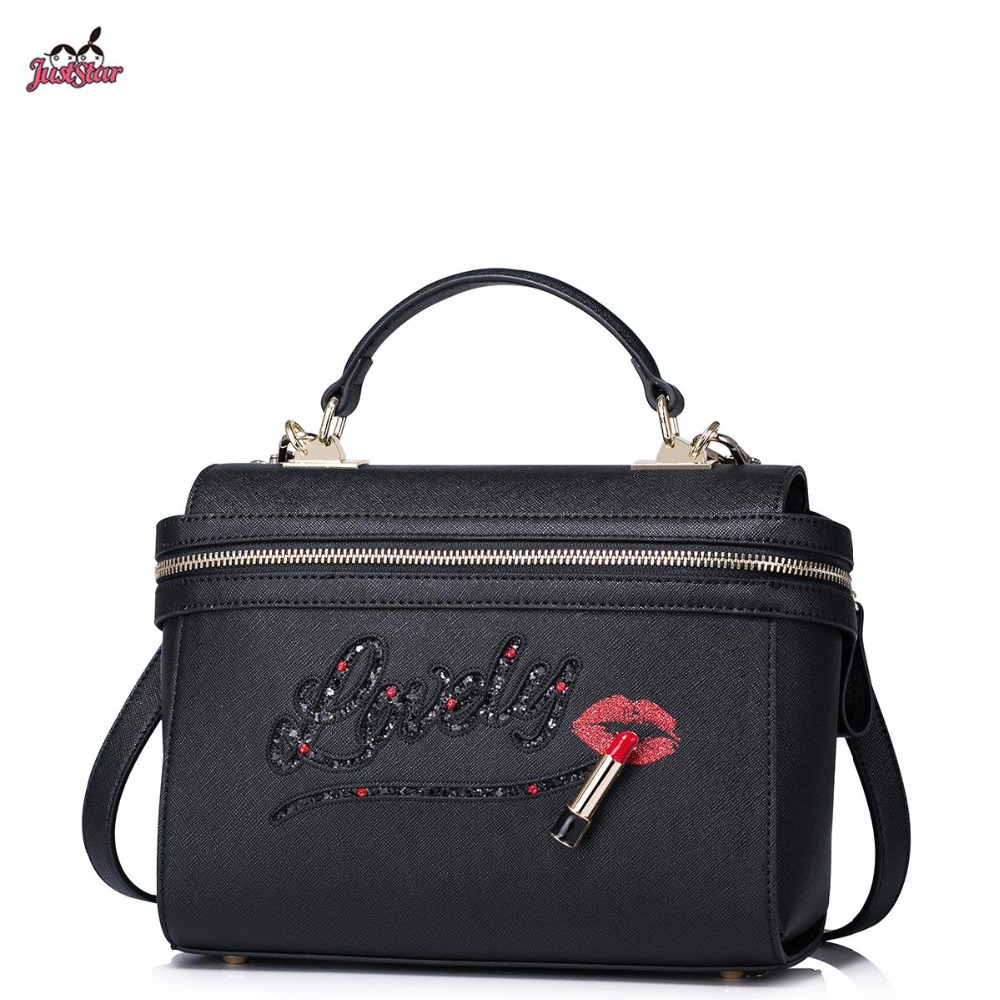 Just Star Brand Design Fashion Lipstick Lips Hollow Letter PU Women Leather Girls Ladies Handbag Crossbody Shoulder Bag just star brand new design fashion flowers pu leather women s handbag ladies girls shoulder cross body drawstring bucket bag