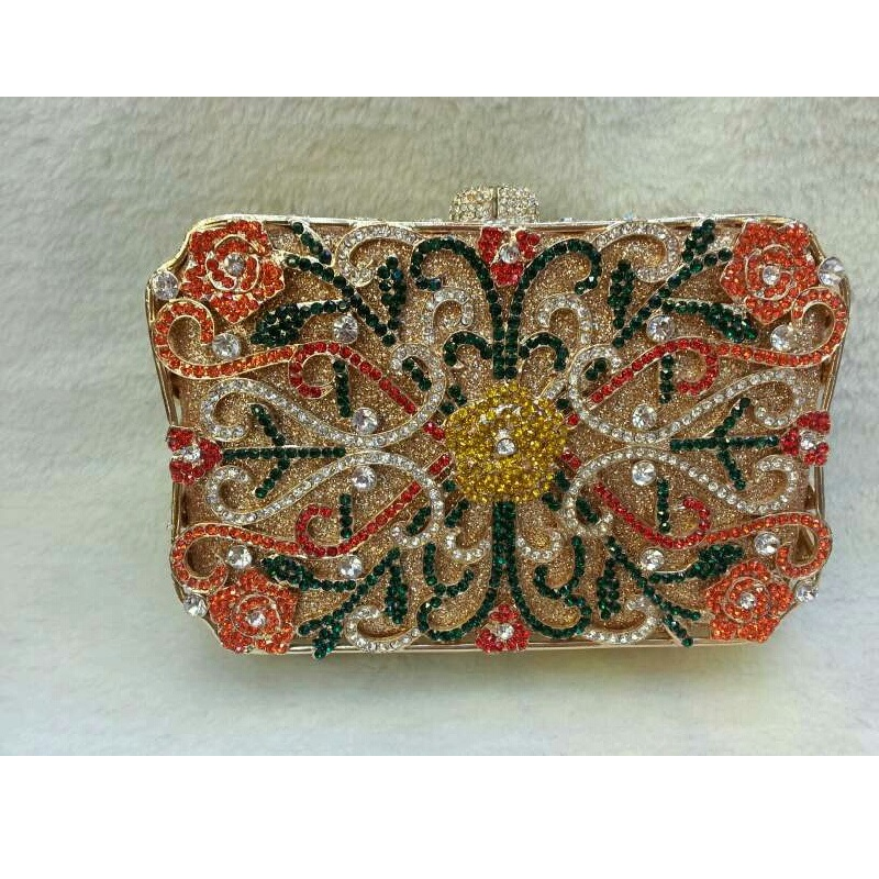 ФОТО 8132-colorA Treasure box Lady fashion Wedding Bridal hollow Metal Evening purse clutch bag case handbag