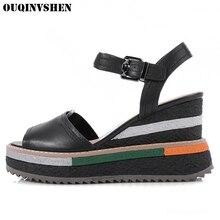 Ouqinvshen клинья женские сандалии босоножки на высоком каблуке женская брендовая 2017 Дамы Девушка Лето Повседневный Модные сандалии из натуральной кожи