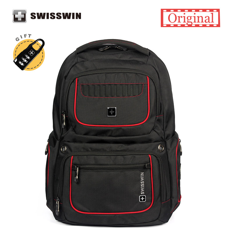 Swisswin Laptop Backpack Swiss Black Waterproof Travel Backpack With Music Function and pocket for Ipad Sac a dos Male Bag Black laptop palmrest