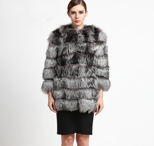 Customize Any Size Natural Full pelt Silver fox fur coat woman winter outwear overcoat one pieces top quality fur BF-C0126