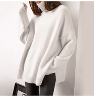 cashmere wool blend thick knit women new fashion casual pullover sweater high piles collar drop shoulder sleeve S XL