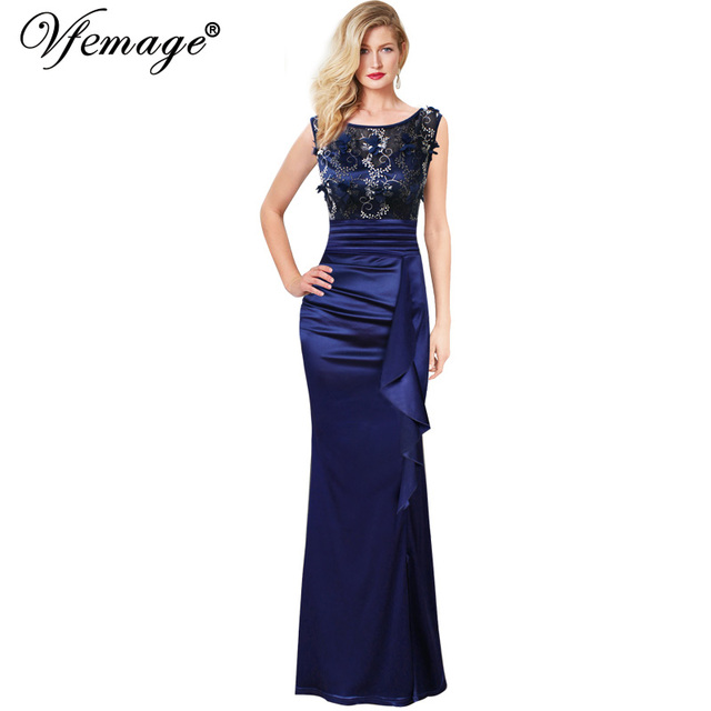Vfemage Womens Bordados Ruched Ruffles Alta Fenda Evening Formal Maxi Vestido de Festa de Casamento Mãe da Noiva vestidos Especiais da Ocasião 290