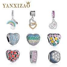 93542538f67537 Yanxizao 925 Ciondolo In Argento Misura Branelli Pandora Braccialetto di  Fascino di Amore del Rainbow Braccialetti