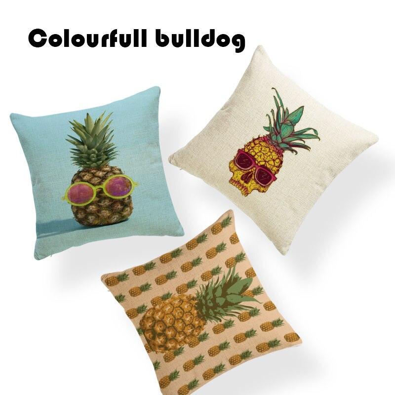 Stylish Fruit Pineapple Cushion Cover Boho Skull Pillow Covers Farmhouse Large Cotton Linen Houseware Decor Pillow Case Covers