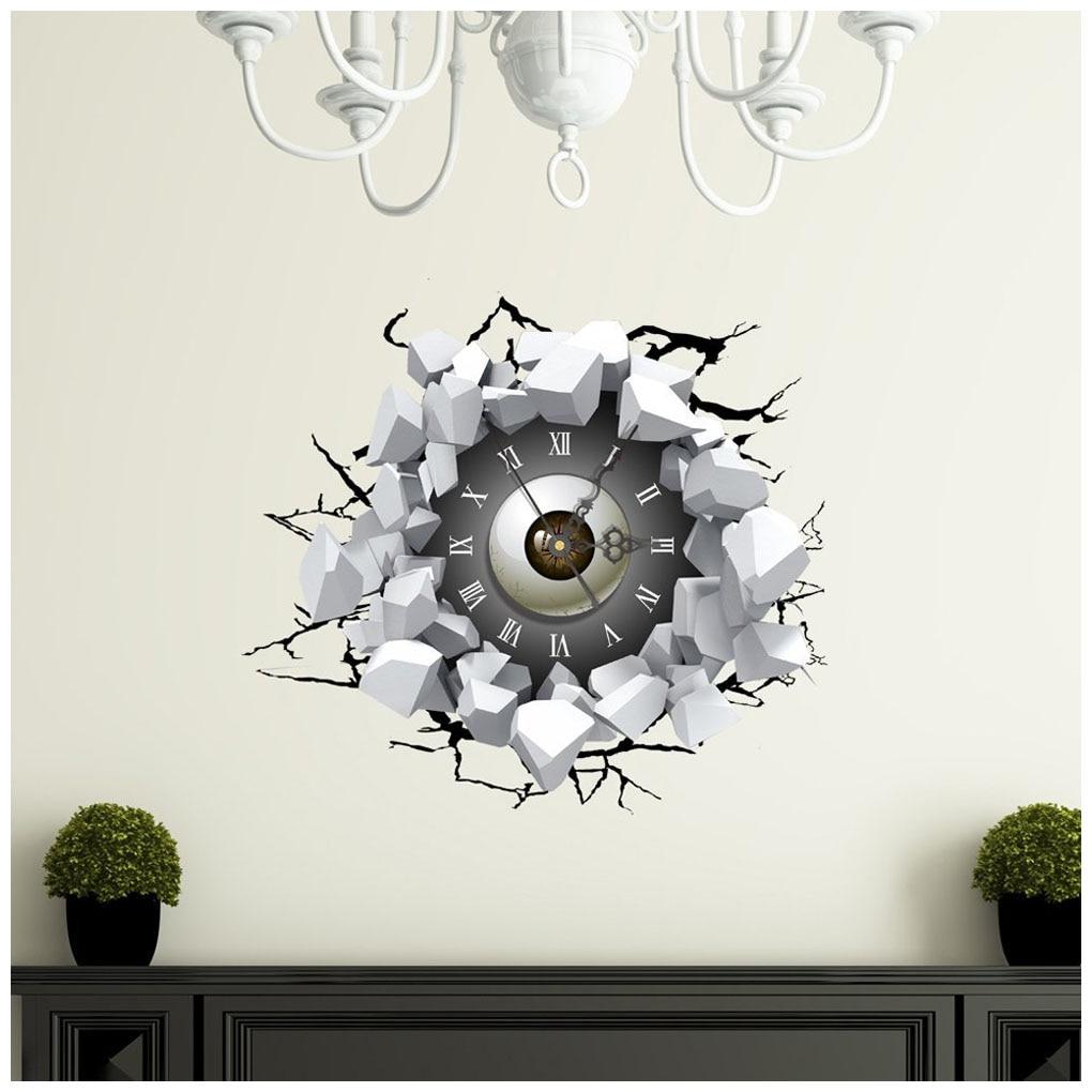 Perfect-DIY 3D Art Wall Clock Decals Eyes Wall Hole Clock Sticker Office Home Wall Decor Gift 16x15 diy wall clock