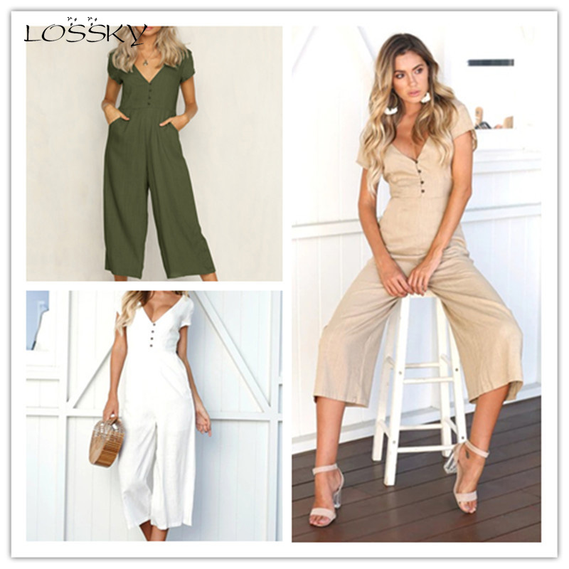 Lossky Women Jumpsuit Summer Sexy Button V-Neck Short Sleeve Slim Holiday Long Jumpsuit Pants Hot White Wide Leg Loose Jumpsuit