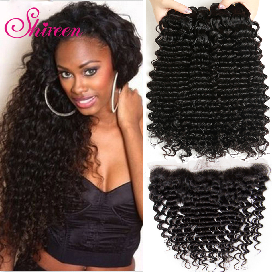 Shireen Hair 3 Bundles Peruvian Deep Wave With Frontal 13*4 Free Middle Part Ear to Ear Lace Frontal Remy Human Hair Extensions
