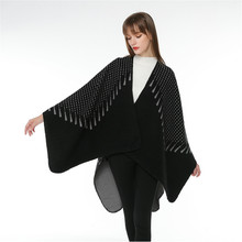TOLINA sexy style Women Knitted Cashmere Poncho Capes Shawl Cardigans Sweater Coat