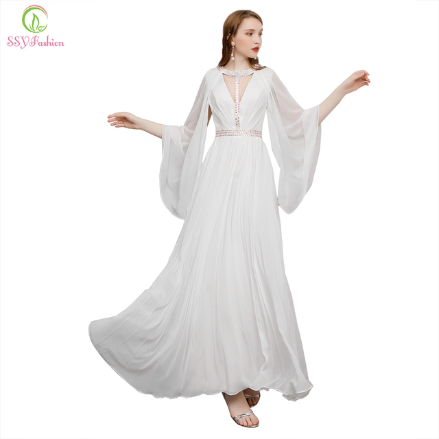 6e662b12796c SSYFashion New Evening Dress The Banquet Elegant V-neck White Beading with  Shawl Floor-length Evening Party Gown Robe De Soiree