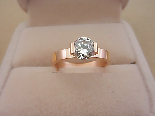 1 Carat Solid Rose Gold 750 Lovely Style Attractive Synthetic