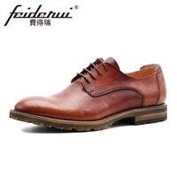 Brand Genuine Leather Men S Handmade Footwear Round Toe Lace Up Man Derby Party Flat Platform