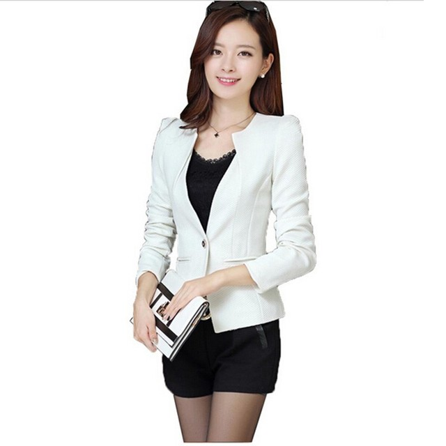 New Women Slim Blazer Coat Fashion Casual Jacket Long Sleeve One Button Suit Ladies Blazers Large Size Work Wear 5 Color