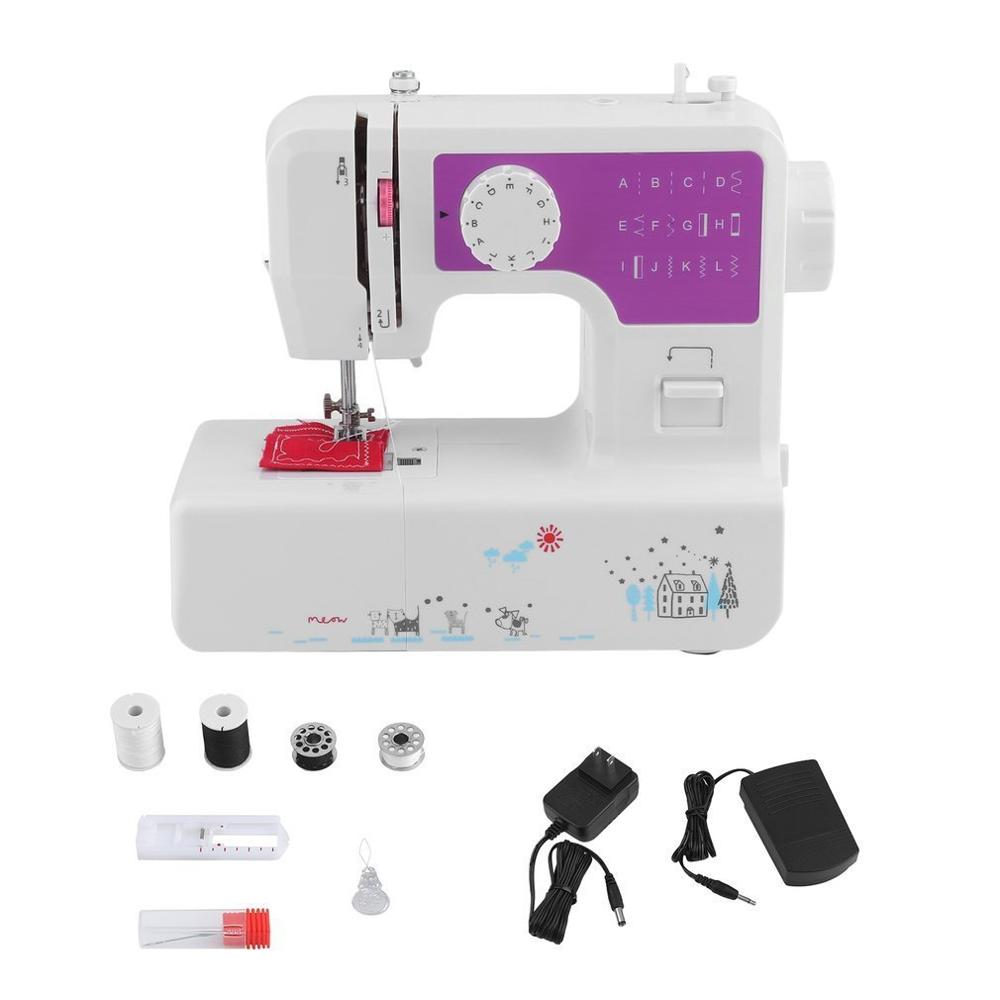 Мини Портативная ручная швейная машинка с двумя скоростными стежками шитье Рукоделие беспроводные ткани электрическая швейная машина с по...