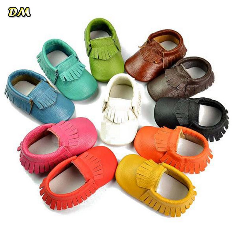 Via Fedex/EMS, New Genuine Leather Soft Baby Shoes First Walkers Baby Moccasins Anti-slip Infant Kids Fringe Shoes, 100Pairs