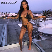 JULISSA MO ダイヤモンドフィ夏ドレスセクシーな中空アウトメッシュドレスの女性の水晶透明ビーチウェアパーティードレス