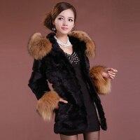 2017 Autumn and Winter Genuine Rabbit Fur Outerwear Raccoon Fur Hoody Women Warm Coat Casacos Femininos VF0527