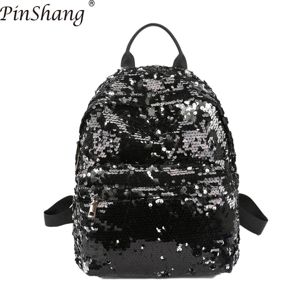 PinShang Women Backpack Fashion Glitter Sequins Backpack Large Capacity Solid Color Travel Bag Backpack Women Bags for Women 30