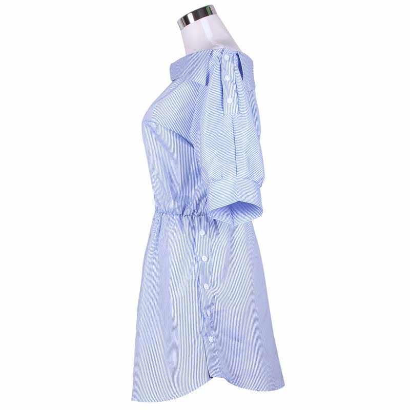 Модное на одно плечо синее Полосатое под женское платье рубаху сексуальное боковое Сплит элегантное полурукав пояс OL пляжное платье для девочек