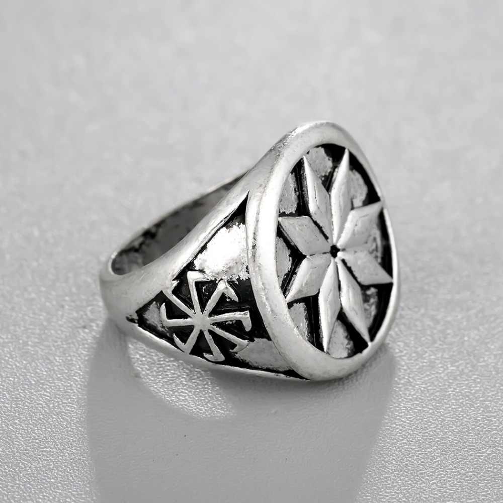 CHENGXUN ヴィンテージロシアシグネットリングバイキングスカンジナビアジュエリー刻印パーティーメンズコンフォートフィット手作り結婚指輪