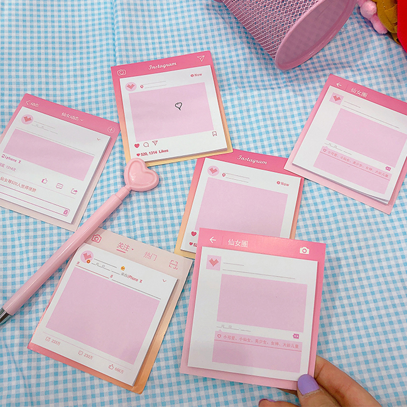 Kawaii Pink Notebooks Writing Memo Pad Teenage Girl Office Sticky School Supplies Scrapbook Kid Stickers Stationery Note Page Notebooks & Writing Pads