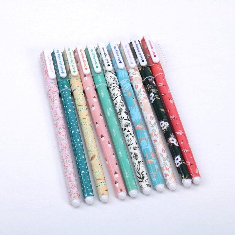 10 pcs/lot Cute Flamingo gel pens Kawaii 0.38mm 10 colors Signature pen for writing school supplies escolar 2
