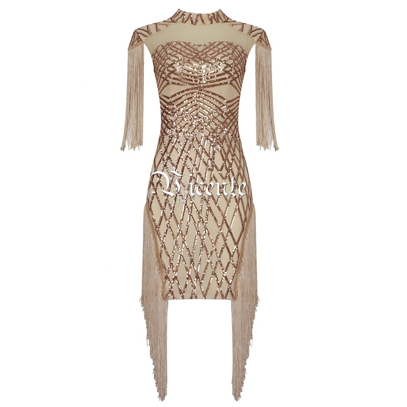 Splei Pailletten Gro Party Chic Gold Design Mesh Troddeln Vicente handel Minikleid Celebrity Goldene en New 2019 Kurzermel 7yfbvY6g