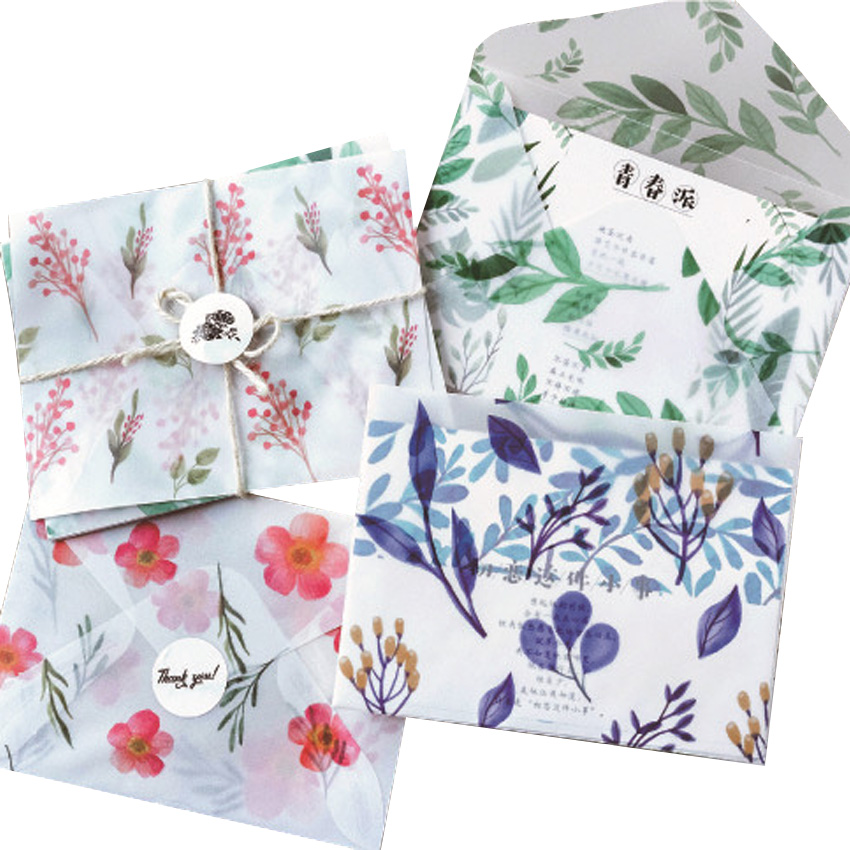 3pcs/pack Creative Four Seasons Sulfuric Acid Paper Envelope Into Random Office School Supplies Four Selsction