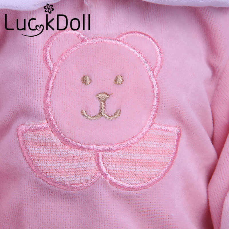 LUCKDOLL الوردي الدب الطباعة دعوى صالح 18 بوصة American43 CM الطفل ملابس دمى الاكسسوارات ، الفتاة اللعب ، الجيل ، هدية عيد ميلاد