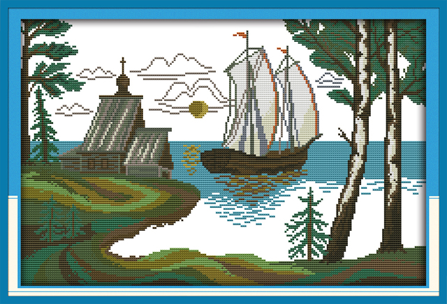 Cross Stitch Landscape Spread The Sail Wall Decoration Kits For