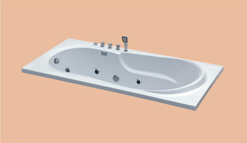 1650mm Drop-in Fiberglass whirlpool Bathtub Acrylic Hydromassage Embedded Surfing Tub NS6020