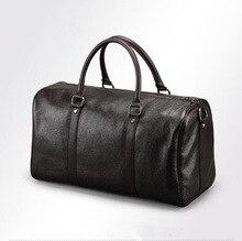 2สีผู้ชายหนังแท้ขนาดใหญ่Duffle/กระเป๋าเดินทางกระเป๋ากระเป๋าถือกระเป๋าสะพายสูงความจุกระบอกสบายๆขายส่ง