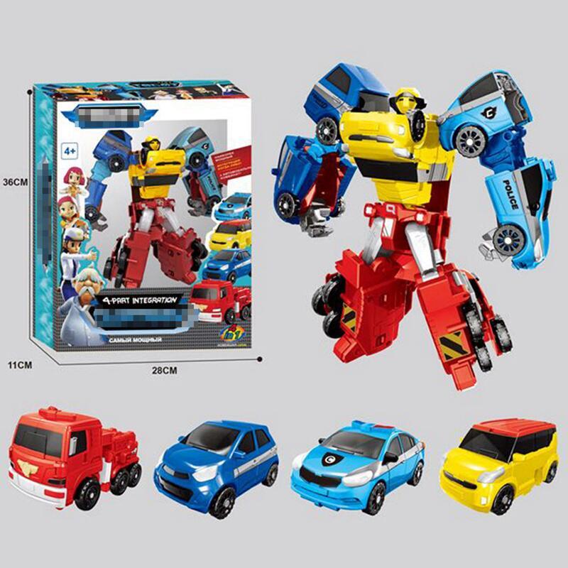 Transformertion Robot Cars 4 In 1 Anime Cartoon Tobots Robot Cars Toys Boy Action Figures Transformer Cars Gift