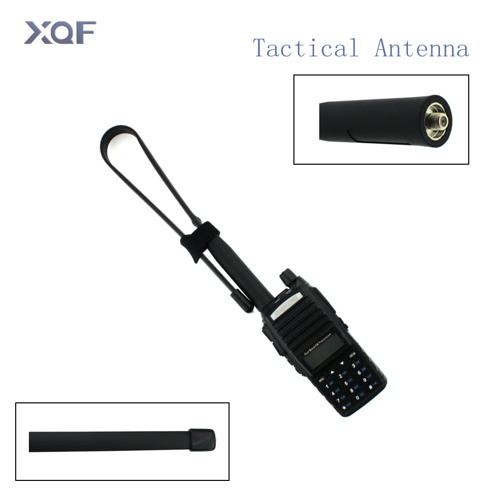 CS Tactical Antenna SMA-Female Dual Band VHF UHF 144/430Mhz Gain Foldable Ruler Antenna For Walkie Talkie Baofeng UV-5R UV-82