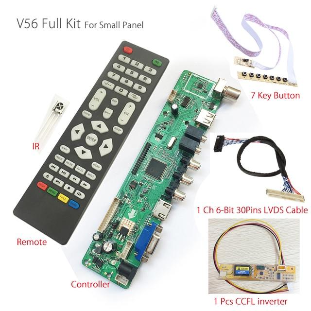 V56 Universal LCD TV Controller Driver Board PC/VGA/HDMI/USB Interface+7 key board+backlight inverter+1ch 6-bit 30pin lvds cable