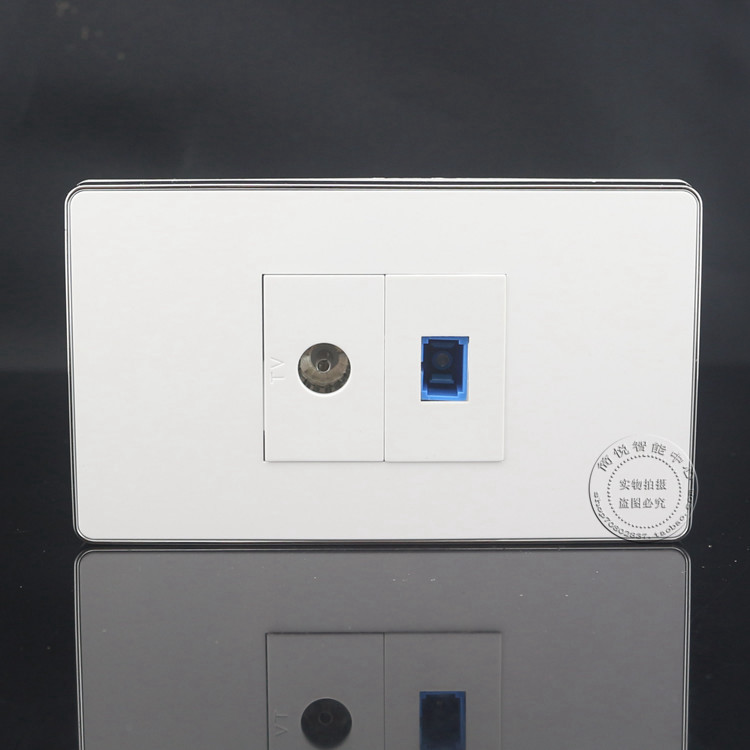 120MM Wall Socket Plate 2 Ports Single Port TV Socket & SC Optical Fiber Jack Panel Faceplate Outlet Adapter