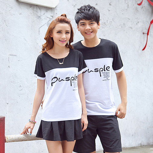 Purple family korean couple shirts for lovers matching ...