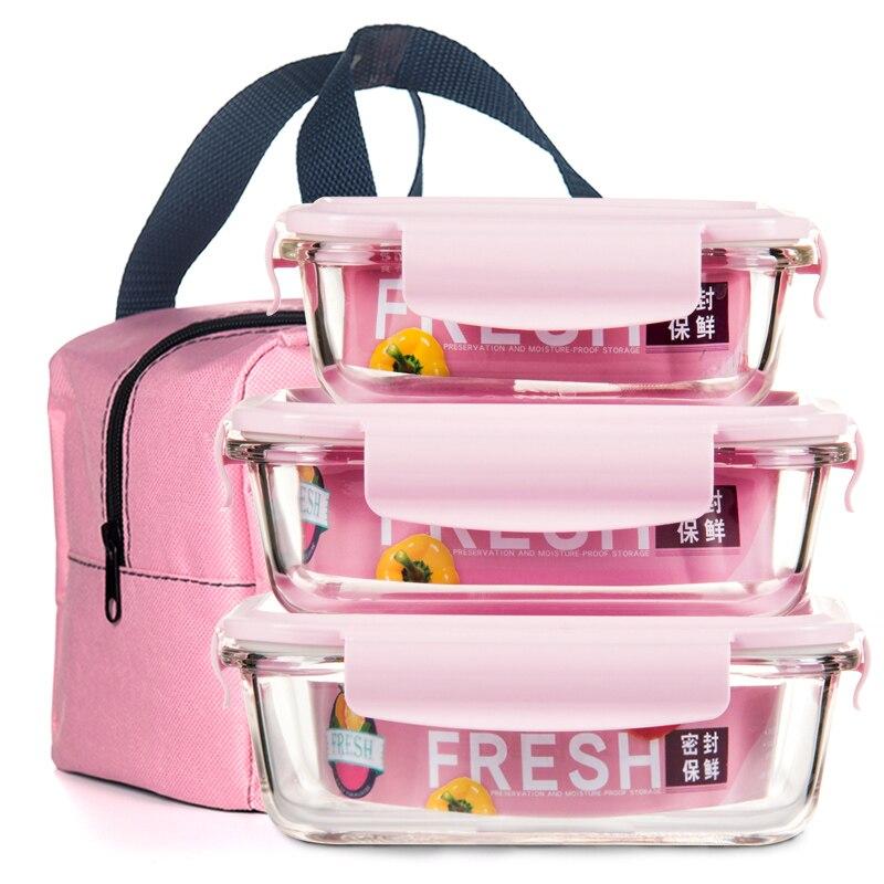 Boîte à Lunch en verre de récipient de nourriture portatif de 3 pièces/ensemble avec le sac