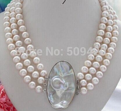 """~ ~ DEY52 Livraison Gratuite 3row 19-21 """"9mm rond blanc culture D'eau Douce collier de perles mabe perle"""
