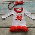 girls sweet heart dress kids Valentines day party dress red ruffle dress baby girls boutique dress with accessories