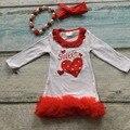 Sweet heart meninas vestido crianças vestido de festa dia Dos Namorados vermelho plissado vestido de bebê meninas vestido boutique com acessórios