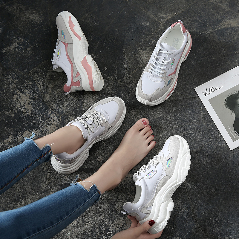Chaussures Femmes Chunky Casual Papa Lace Dame Bout Plat P30 white Up Coréen Pink Plate Rond Printemps Femme Sneakers P30 forme Creeper Harajuku vymn80ONw