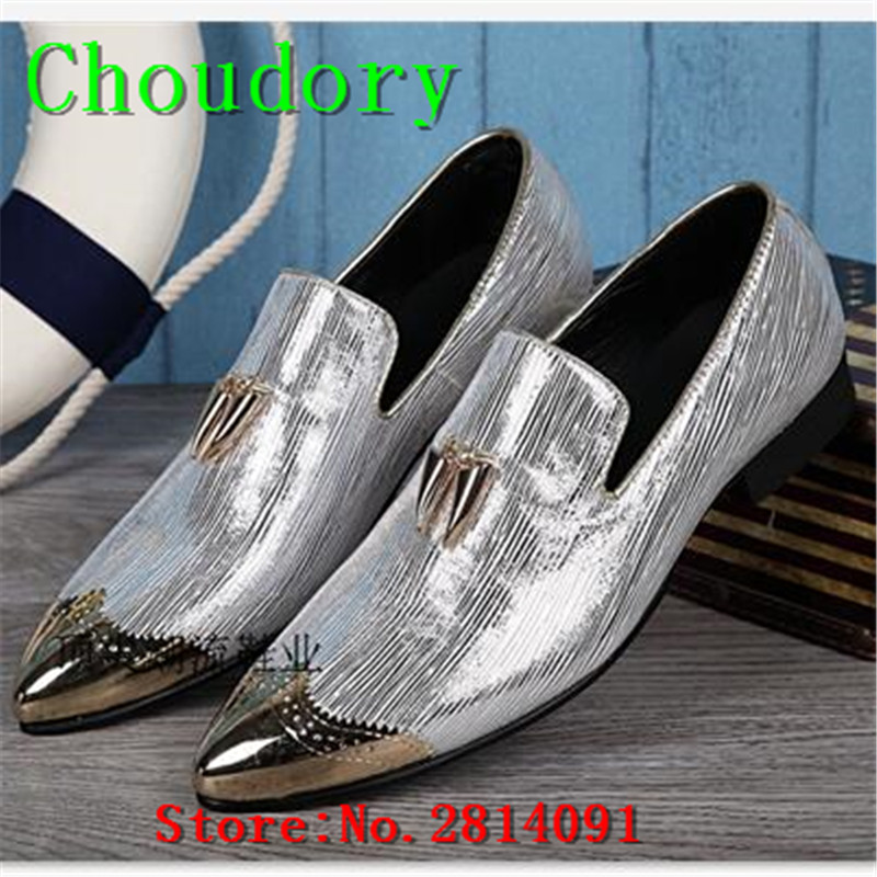Choudory New Pointed Toe Breathable Men Shoes Casual Fluorescent Light Steel Toe Work Shoes Men Flats Solid Slip-On Men Loafers