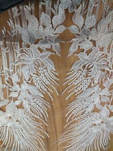 latest african laces 2018, French White Tulle Mesh Embroidered Lace Cheap African Net Fabric BC39