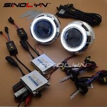 SINOLYN Car Styling 3.0 LED Angel Devil Eyes Car Projector Headlight Lens Bixenon Retrofit Kit 4300K 6000K 8000K H1 H4 H7 9006