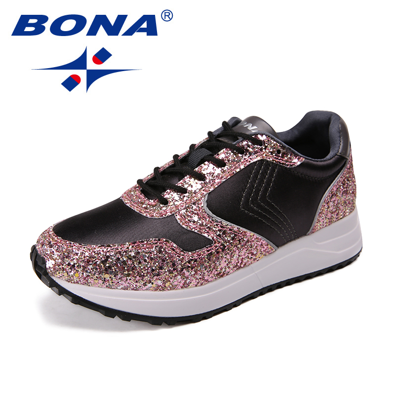 BONA New Arrival Classics Style Women Walking Shoes Lace Up Women Athletic Shoes Outdoor Jogging Shoes Synthetic Sneakers Shoes colour block lace up splicing athletic shoes