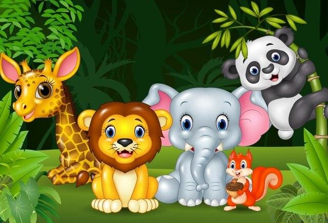 Laeacco Cartoon Forest Animals Jungel Safari Baby Birthday Party Photo Backdrop Photographic Background Photocall Photo Studio