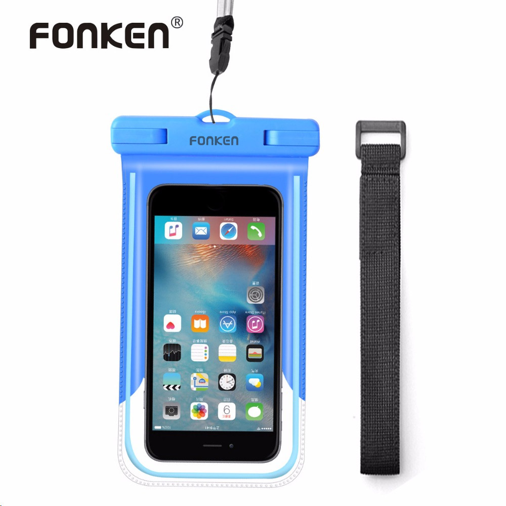 FONKEN Luminous Waterproof <font><b>Case</b></font> For <font><b>Phone</b></font> Pouch IPX8 Waterproof Bag with Arm Band Underwater Diving Swimming Strap <font><b>Phone</b></font> <font><b>Case</b></font>