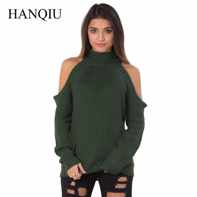 Turtleneck Off Shoulder Knitted Sweater Women Autumn Fashion Tricot Pullover Jumpers Pull Femme Black Woman Pullovers 2017 Fall