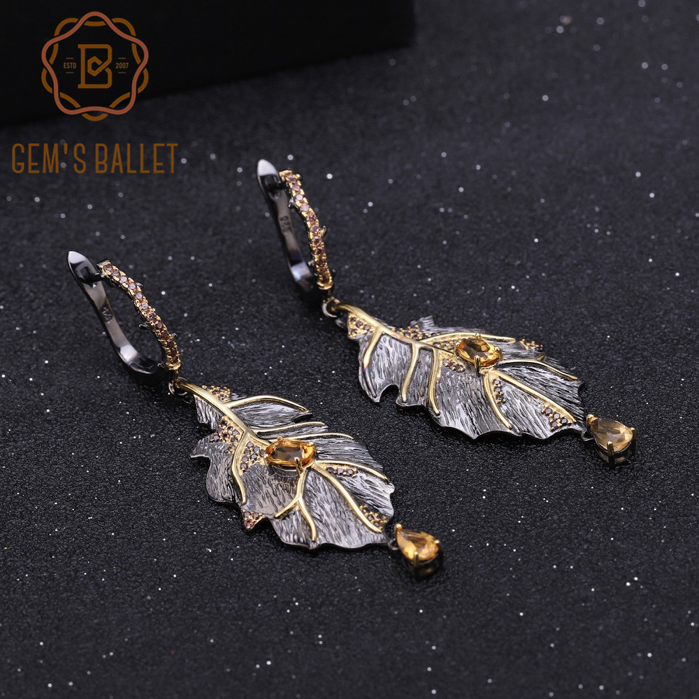 GEM S BALLET 0 97Ct Natural Citrine 925 Sterling Silver Handmade Monstera Leaves Drop Earrings for